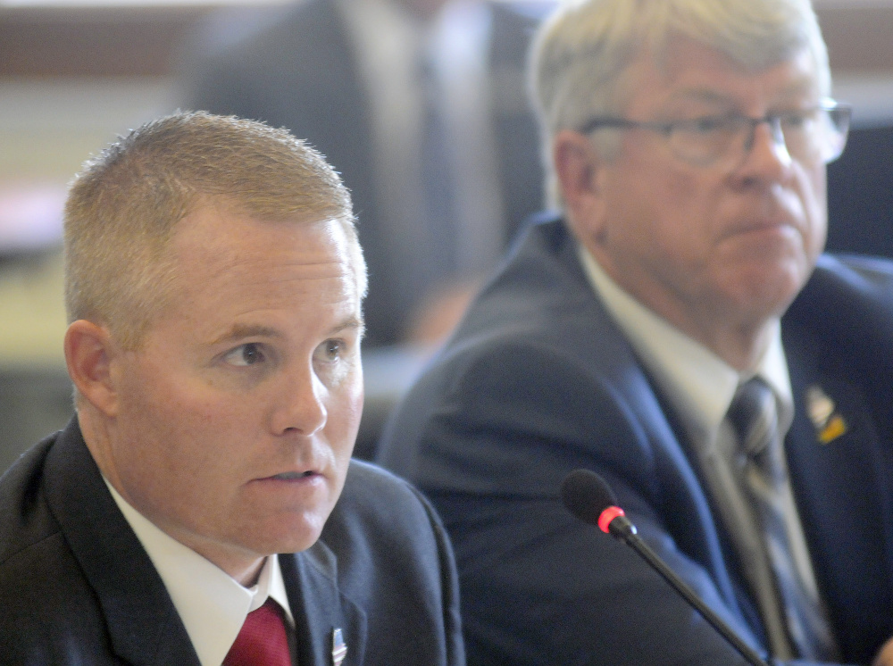 """""""I'm not going to put my officer under investigation because someone misprints false allegations"""" about the conduct of officers in undercover sting operations, Maine Warden Service Col. Joel Wilkinson, left, told a June 1 legislative hearing in Augusta. Lawmakers have no plans to look into any other allegations."""