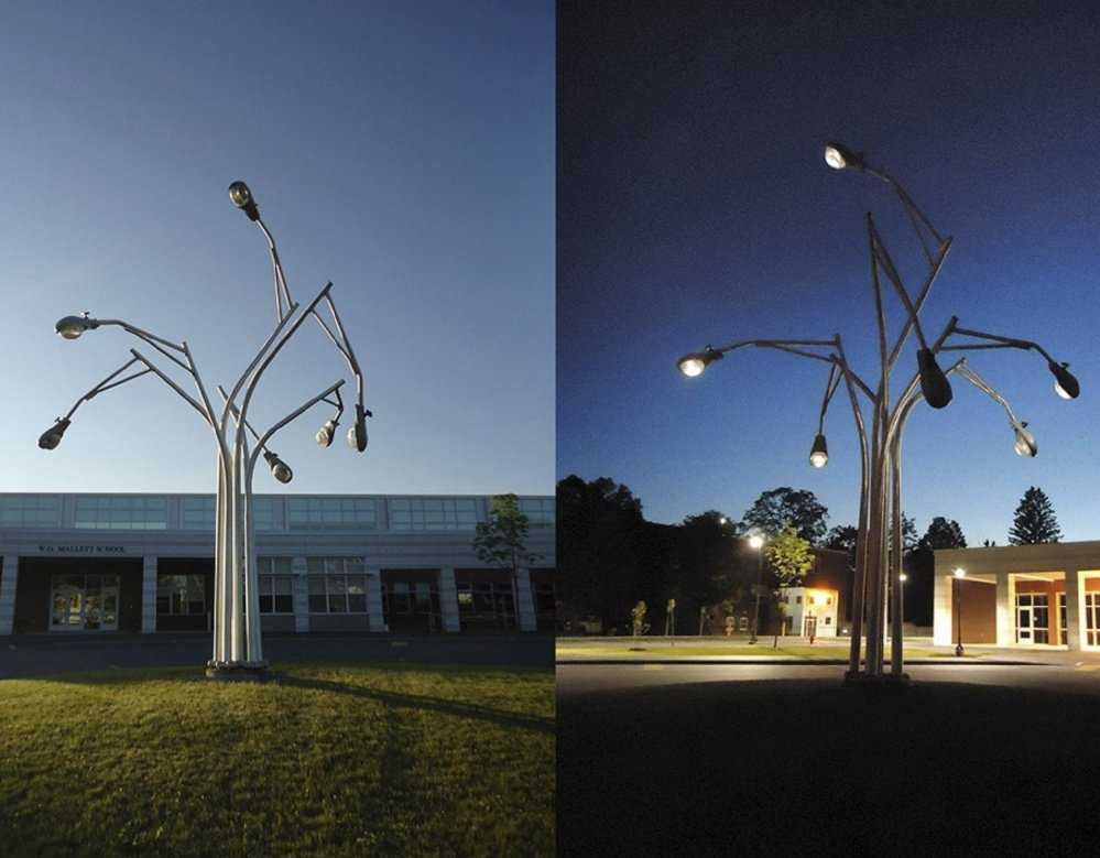 "A lighting installation in Farmington by artist Aaron Stephan, who will design and build a ""cluster of lights"" sculpture at Woodfords Corner."