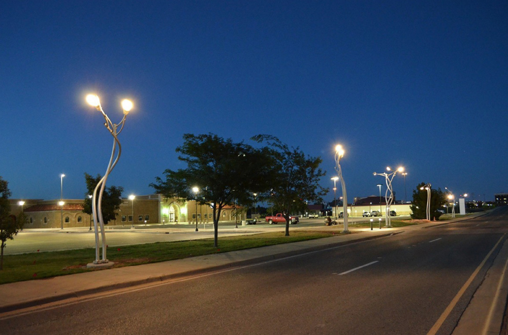 A lighting installation in Texas by artist Aaron Stephan.