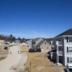 The first phase of Blue Spruce Farm in Westbrook, totaling almost 200 units, was under construction in April. The second phase called for more than 250 market-rate apartments, but revised plans could include slightly more than 100 apartments.