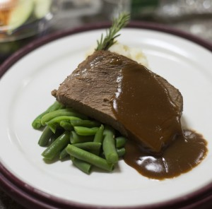 Pot roast with gravy, green beans and mashed potatoes at Central Maine Medical Center in Lewiston.