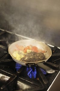 Mediterranean chicken sauté on the stove at Mercy Hospital.