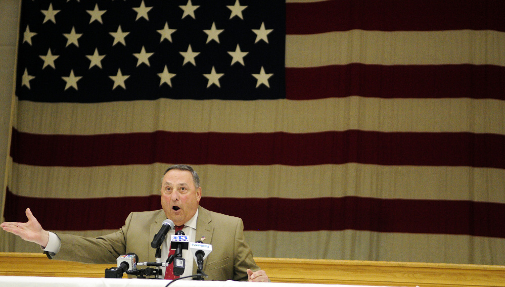 Gov. Paul LePage speaks during a town hall meeting on Wednesday in the Augusta Armory.