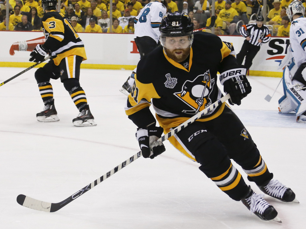 Phil Kessel has 21 points (10 goals, 11 assists) in Pittsburgh's 22 playoff games, including a goal and two assists against the Sharks in the Stanley Cup Final. The Penguins lead the series 3-1 and can close out San Jose on Thursday.