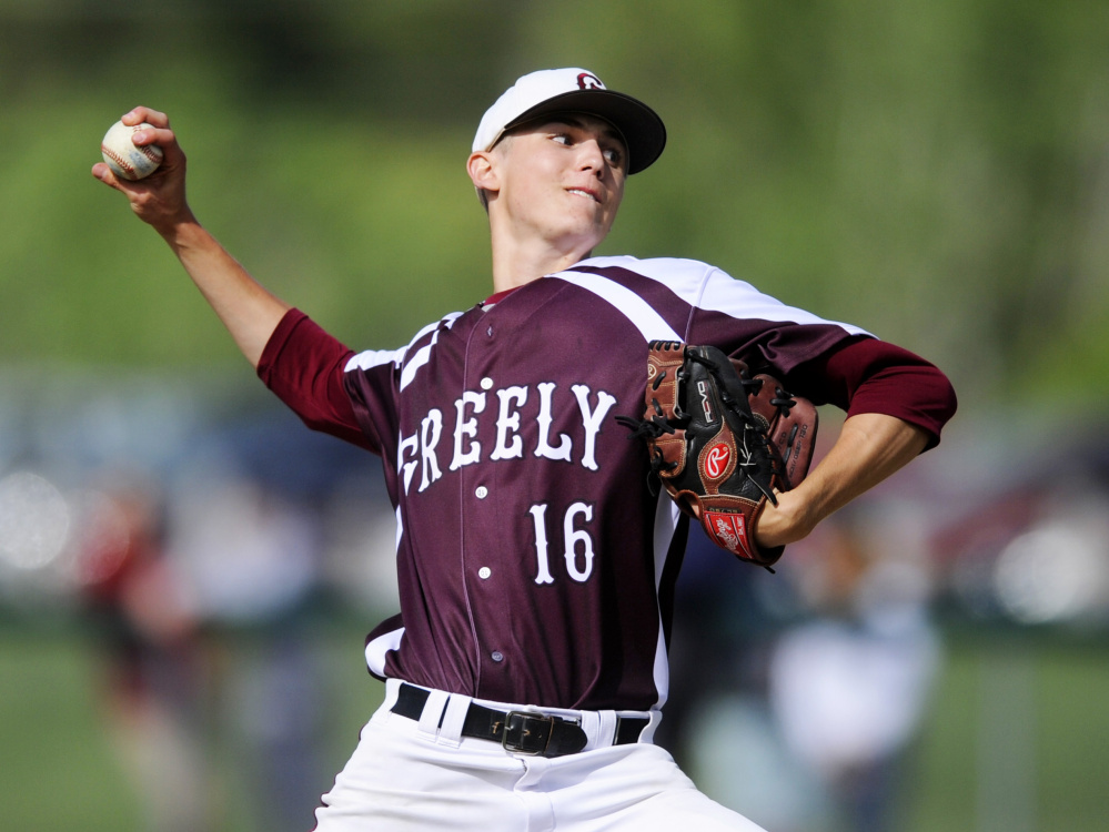 Pitchers like Greely's Ryan Twitchell will be limited by a pitch count next year because the National Federation of State High School Associations is requiring the MPA to come up with a regulation.