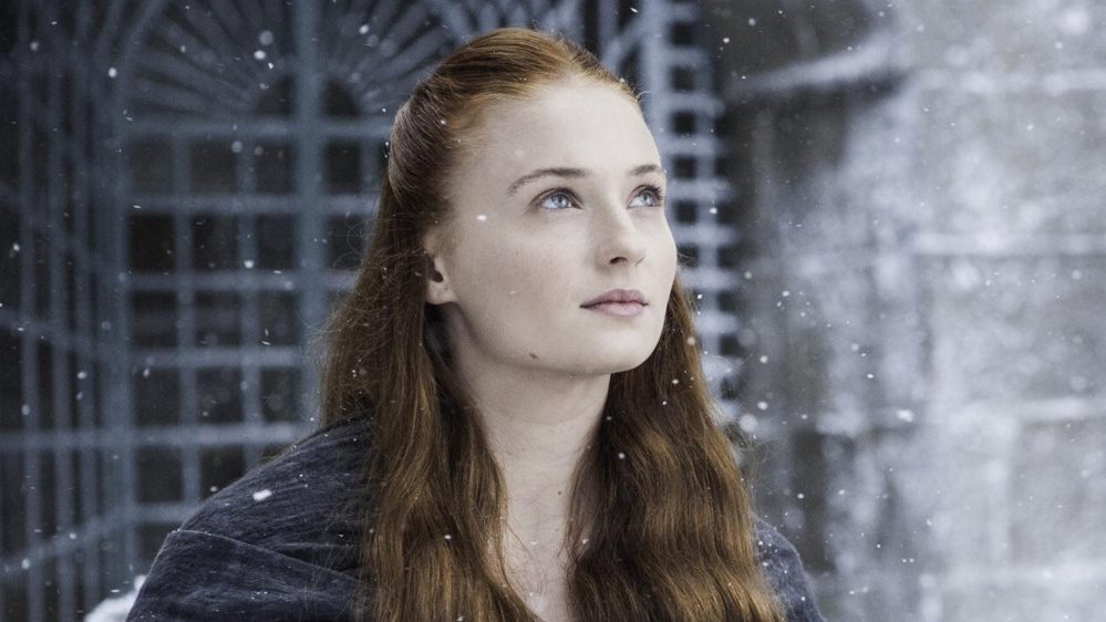 "Sophie Turner as Sansa Stark in ""Game of Thrones"" and, below, as Jean Grey in ""X-Men: Apocalypse."""