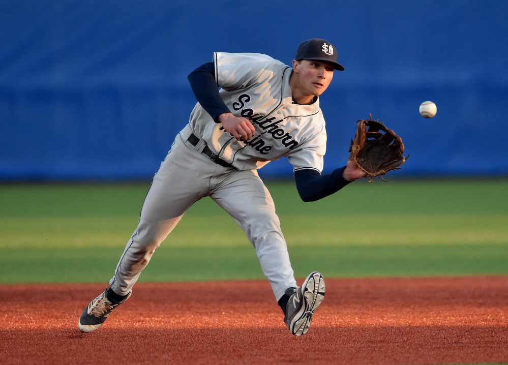 University of Southern Maine shortstop Sam Dexter, shown earlier this year with USM, was drafted by the Chicago White Sox in the 23rd round of the Major League Baseball draft on Saturday.
