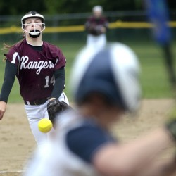 Kelsey Currier of Greely delivers a pitch during the first inning of Saturday's 8-1 win over Yarmouth in a Class B South softball semifinal. Currier pitched a six-hitter and hit a grand slam to help the Rangers advance to the regional final against York.