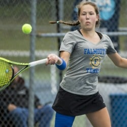 Falmouth's Caroline Ray volleys back to Lewiston's Alanna Taylor during the Class A tennis state championships at Lewiston High School on Saturday. Falmouth won its 141st straight match and third straight state title.