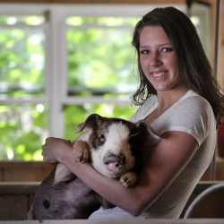 """Gorham High School graduate Molly Merrifield holds a piglet at Merrifield Farm in Gorham. """"I've kind of built a name for myself,"""" she says, """"and people know that I raise quality pigs."""" Shawn Patrick Ouellette/Staff Photographer"""
