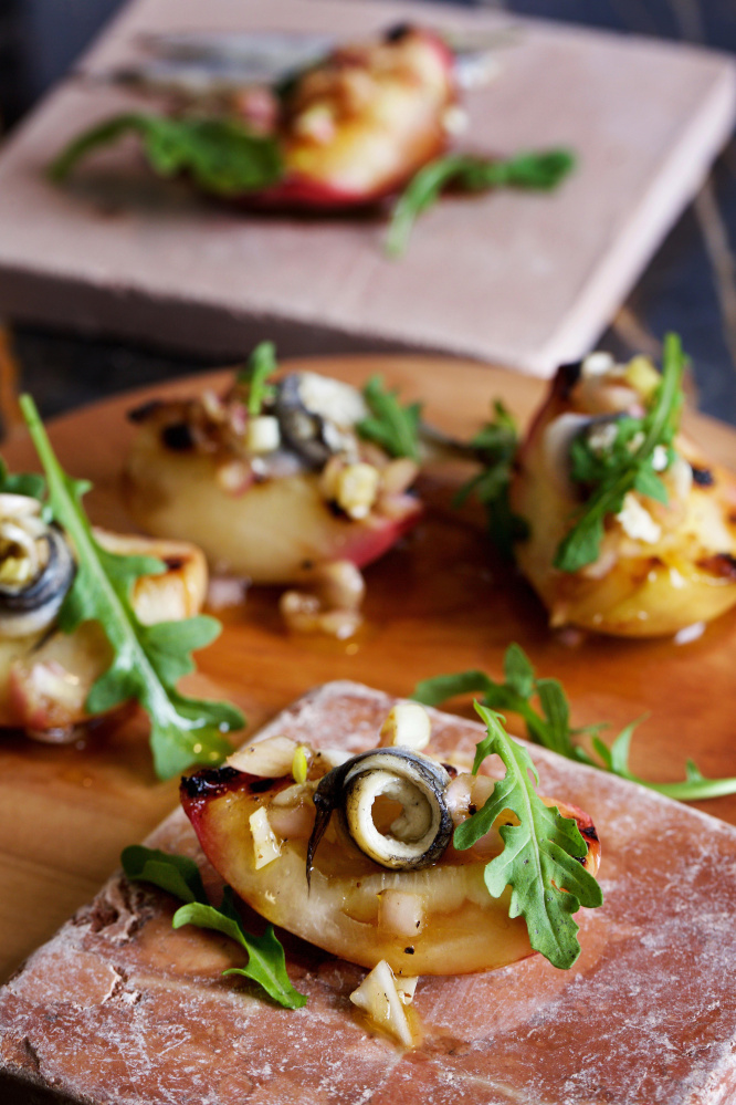 Nectarines with anchovies is a twist on a salad. The Washington Post/Deb Lindsey