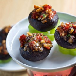Those who eschew anchovies, a typical tapas ingredient, will be glad to know the filling in this stuffed mushroom dish is fish-free – and quite piquant.   The Washington Post/Deb Lindsey