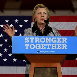 Hillary Clinton addresses the International Brotherhood of Electrical Workers Local Union No. 5 in Pittsburgh Tuesday, prior to the closing of the District of Columbia primary.