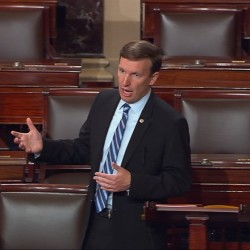This frame grab shows Sen. Chris Murphy, D-Conn. speaking on the floor of the Senate on Capitol Hill in Washington on Wednesday, when he launched a filibuster demanding a vote on gun control measures.