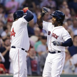 Boston's Hanley Ramirez, right, is congratulated by David Ortiz after his three-run home run in the third inning Wednesday night against the Baltimore Orioles at Fenway Park.