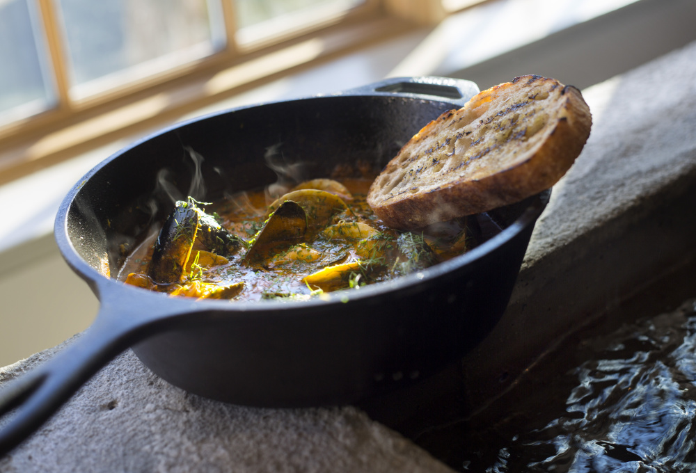 Fish and shellfish stew, with fresh squid, tomato fennel broth and grilled bread at Scales.