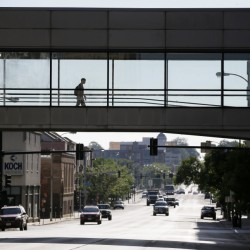 Skywalks like this one over a downtown street in Des Moines, Iowa, have created a dilemma for cities: how to create lively streets when fewer people walk outside.