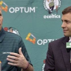 Danny Ainge, left, the president of basketball operations for the Boston Celtics, and Coach Brad Stevens have not only been evaluating the best choice for the No. 3 spot in the NBA draft Thursday night, but the possibilities for making a significant trade.