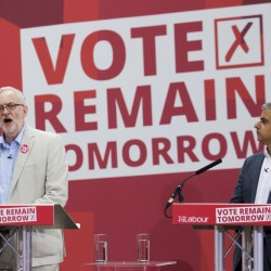 """The leader of Britain's opposition Labour Party, Jeremy Corbyn, left, makes an address as Sadiq Khan, London's mayor, looks on during a """"Remain"""" rally in London on Wednesday."""