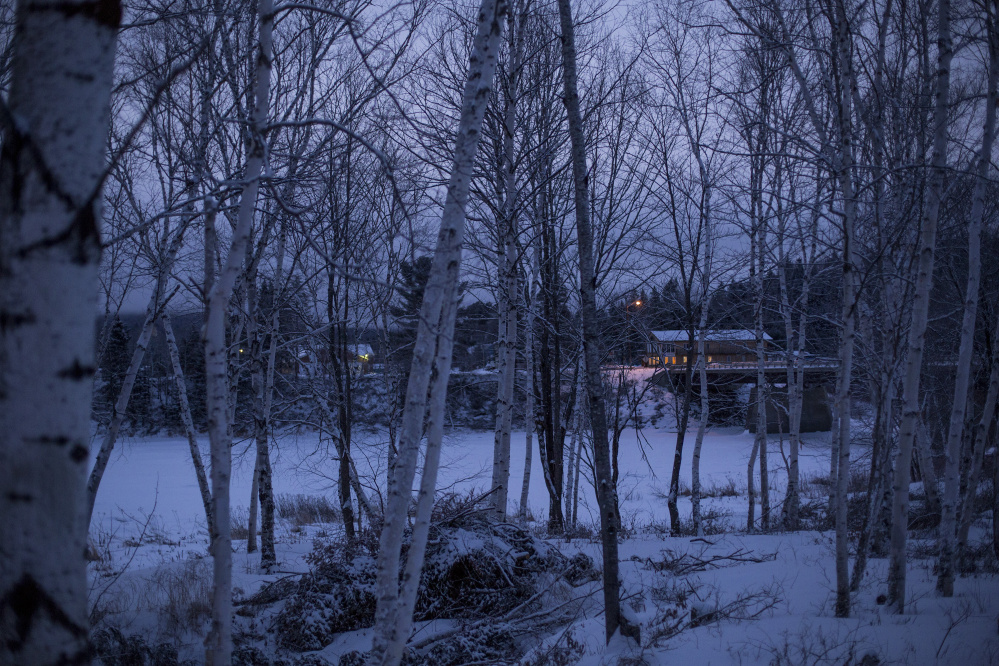 Downtown Allagash is seen during predawn hours Feb. 9, four days after a Maine Warden Service poaching sting culminated in a raid. The Maine Sunday Telegram hasn't received public records requested months ago on the warden service's undercover actions in Allagash.