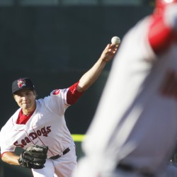 Portland pitcher Jalen Beeks throws in the second inning against the Harrisburg Senators at Hadlock Field on Thursday night.