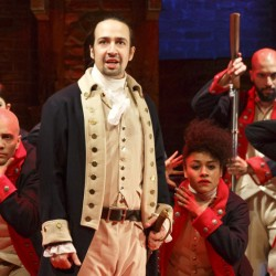 "Lin-Manuel Miranda, foreground, created ""Hamilton"" and stars in the lead role. He'll leave the show July 9, but PBS' ""Great Performances"" will air footage with the original cast."