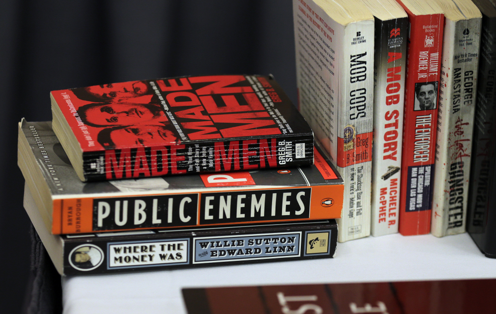 A collection of crime books that belonged to James