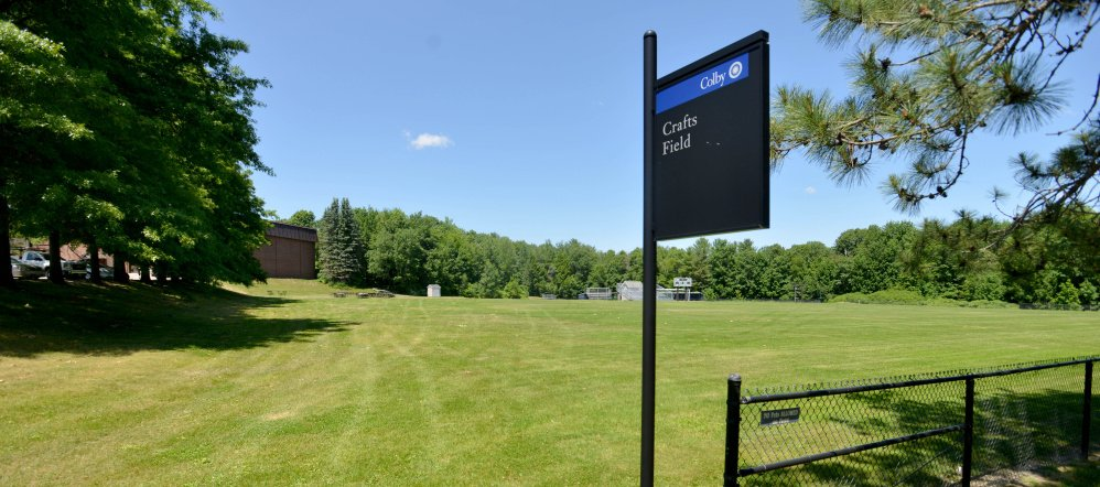 This area behind Colby College's Harold Alfond Athletic Center, seen Friday, will be the site of thee new athletic fields, one of which will have artificial turf. The Waterville Planning Board on Monday will consider an informal application for the project.