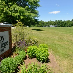 In this area behind Colby College's Harold Alfond Athletic Center, the college plans to build three athletic fields, one of which will have artificial turf. Work on the fields could begin this fall, with the goal of their being ready for use a year later.