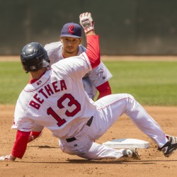 Portland's Danny Bethea slides into second as Reading's Angelo Mora waits to place the tag during a failed stolen base attempt at Hadlock Field in Portland on Sunday. Carl D. Walsh/Staff Photographer