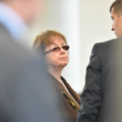 Claudia Viles speaks with her attorney, Walter McKee, after she was found guilty on 13 counts including felony theft at Somerset County Superior Court in Skowhegan on Wednesday. While hers is one of the biggest prosecuted cases of municipal theft in Maine history, many towns are also vulnerable.