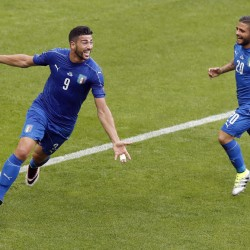 Graziano Pelle, left, celebrates with Lorenzo Insigne after scoring the clinching goal Monday in Italy's 2-0 win over Spain at the European Championships in Saint-Denis, France.