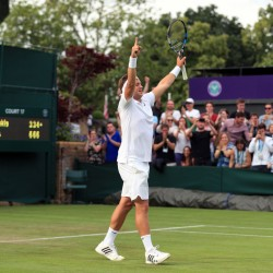 Britain's Marcus Willis, ranked 772nd in the world, celebrates his straight-sets victory Monday over 54th-ranked Ricardas Berankis of Lithuania on opening day of the Wimbledon Tennis Championships in London.