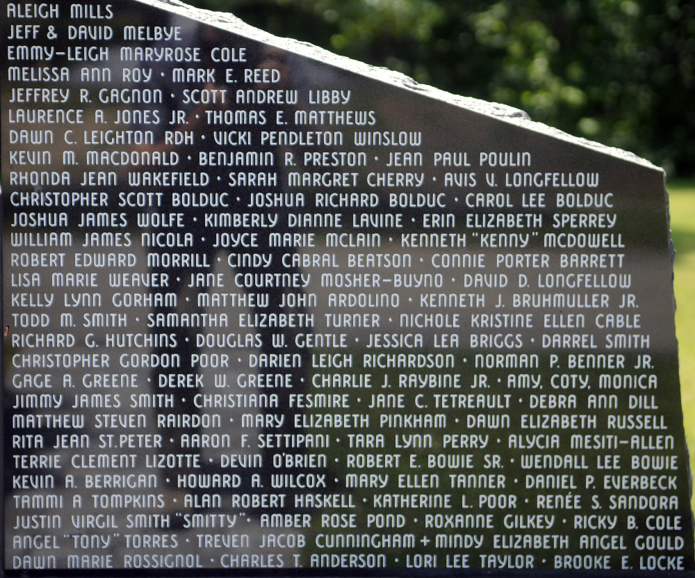 Some of the 107 names on the Maine Murder Victims' Memorial monument in Augusta at Holy Family Cemetery.