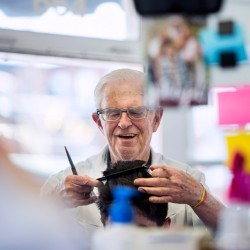 Millette has owned the shop on Congress Street for 54 years. it was originally Longfellow Barber Shop, but was changed to Senior Citizen Barber Shop in the 60s when young men stopped cutting their hair.