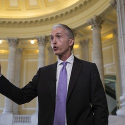 House Benghazi Committee Chairman Rep. Trey Gowdy, R-S.C., gestures during a TV news interview with MSNBC, on Capitol Hill in Washington Tuesday to discuss the release of his final report on the 2012 attacks on the U.S. consulate in Benghazi, Libya, where a violent mob killed four Americans, including Ambassador Christopher Stevens.