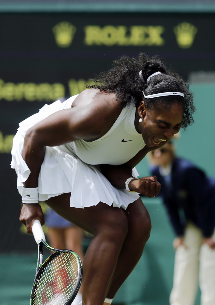 Serena Williams of the U.S celebrates a point against Amara Safikovic of Switzerland during their women's singles match on day two of the Wimbledon Tennis Championships in London on Tuesday.