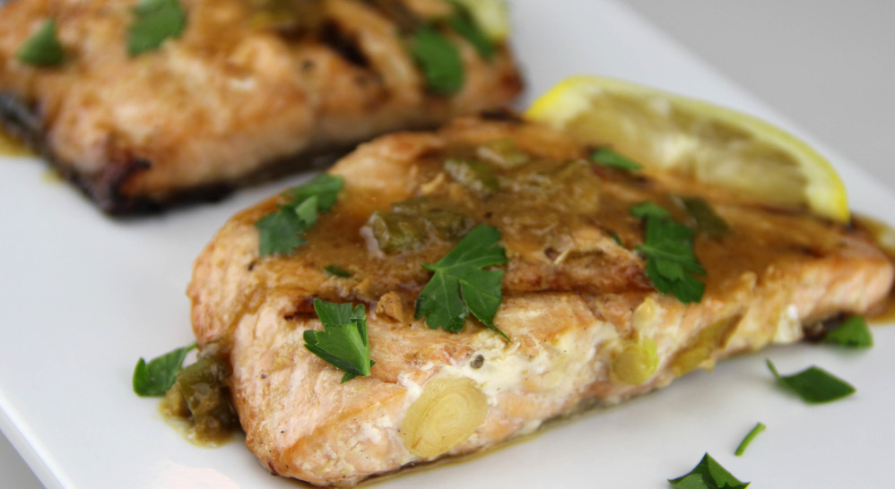 A little pineapple juice is the perfect way to sauce up salmon.