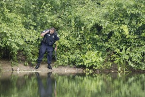 WEST BROOK, ME Ð JUNE 29: Westbrook Police Officer Phil Robinson scans the banks of the Presumpscot River in search of a large snake estimated at 10 feet in length, that was spotted eating a beaver Wednesday, June 29, 2016 in Westbrook, Maine. (Photo by Joel Page/Staff Photographer)