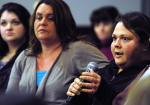 Jodi French, right, an acuity specialist at the Riverview Psychiatric Center, testifies at a forum in January at which Riverview employees voiced concerns about understaffing. Some vacancies have since been filled, but an executive order signed this week by Gov. LePage could freeze hiring.