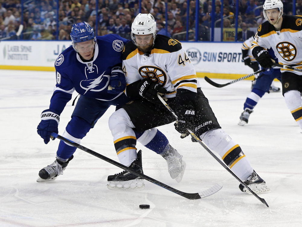 Boston defenseman Dennis Seidenberg, shown in a March 2015 game battling Tampa Bay's Ondrej Palat, was let go by the Bruins on Thursday.