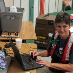 Gardiner resident Brenda Sawyer, an American Red Cross of Maine volunteer, is in California helping those affected by a wildfire that has burned nearly 47,000 acres and destroyed about 250 homes.