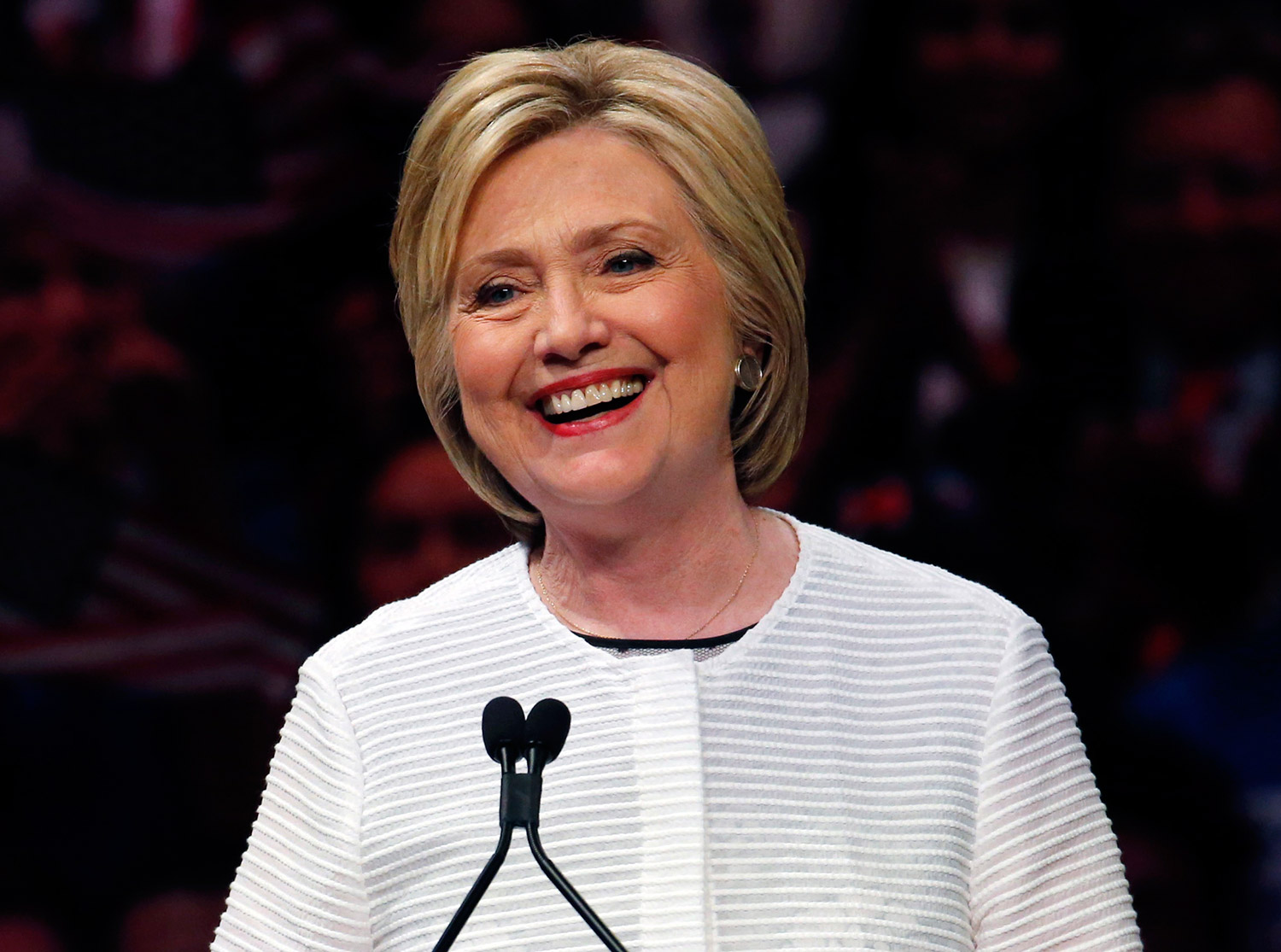 Democratic presidential candidate Hillary Clinton speaks in New York on Tuesday. Powered by a solid triumph in California, Clinton seizes her place in history as the first women to become a presumptive presidential nominee and sets out to unite a fractured party to confront Donald Trump.
