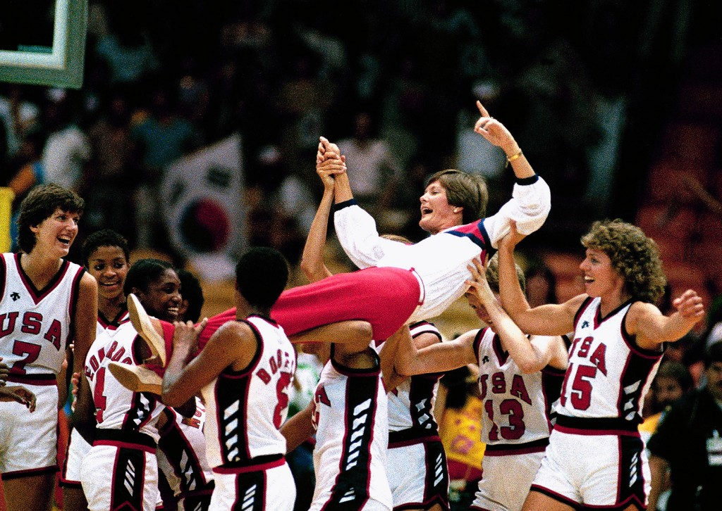 U.S. women's basketball coach Pat Summitt is carried off by members of the team following their 85-55 win over South Korea in the gold medal game at the 1984 Olympics in Los Angeles. Summitt, the winningest coach in Division I college basketball history who uplifted the women's game from obscurity to national prominence during her career at Tennessee, died June 28, 2016. She was 64.