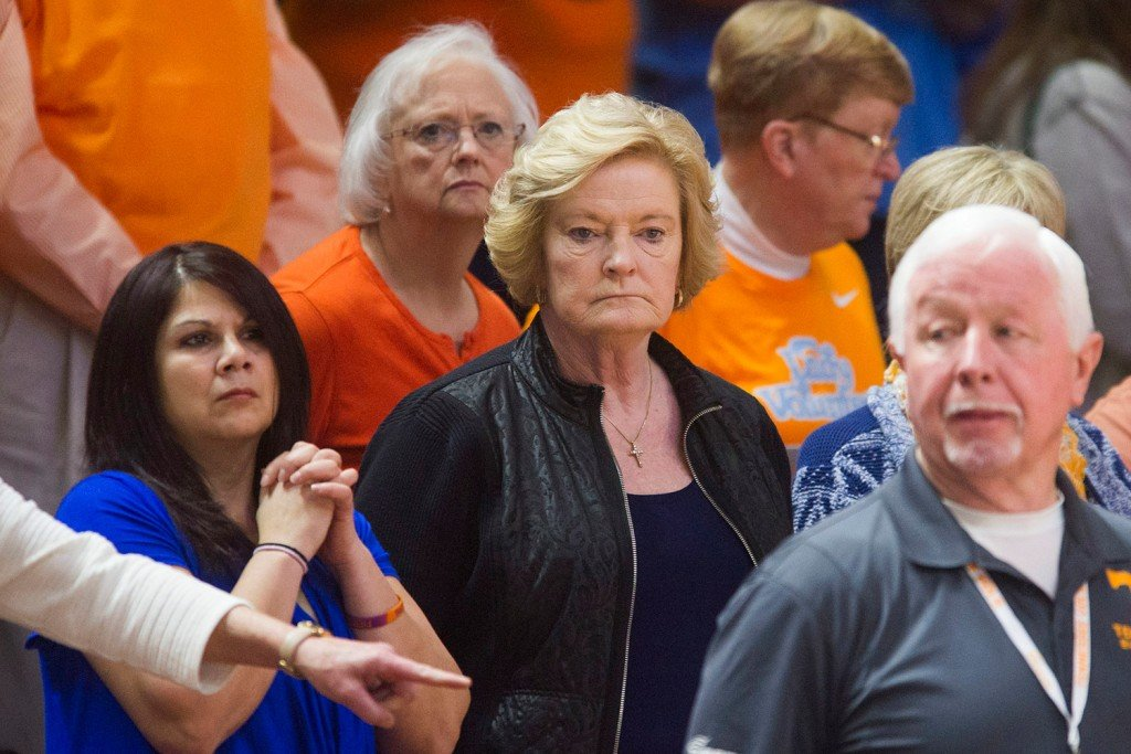 Summitt attends an Jan. 31, 2016 NCAA college basketball game between Tennessee and Alabama in Knoxville, Tenn.