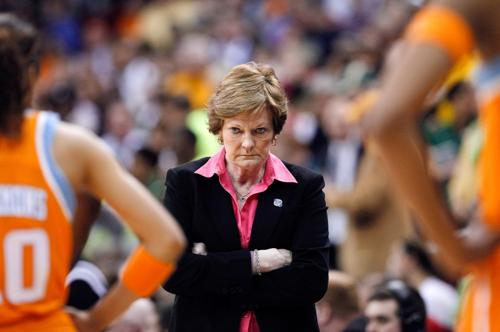 Summitt waits for her players during a 2012 timeout in the second half of an NCAA women's college basketball tournament regional final against Baylor in Des Moines, Iowa.