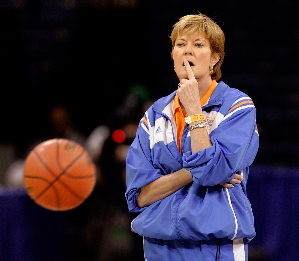Summitt watches her team as she runs them through their paces during a 2006 practice at the Ted Constant Convention Center in Norfolk, Va.