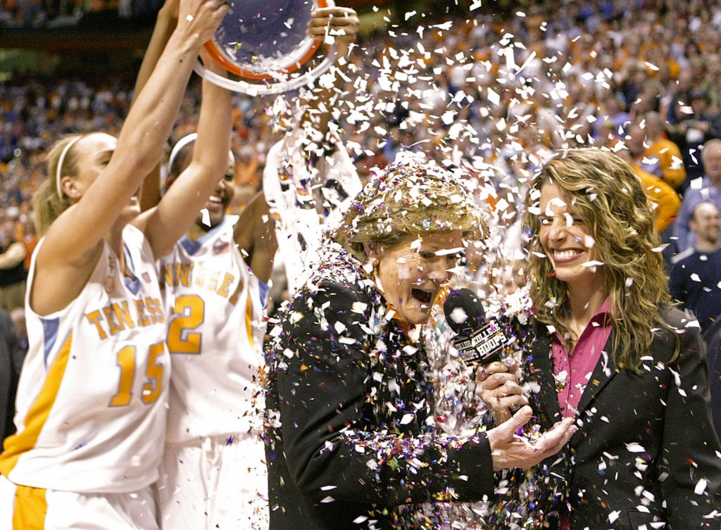 Summitt has confetti dumped on her by players Alicia Manning (15) and Alex Fuller (2) after the Lady Vols defeated Georgia 73-43 in a 2009 NCAA college basketball game in Knoxville, Tenn., earning Summitt her 1,000th career coaching victory.