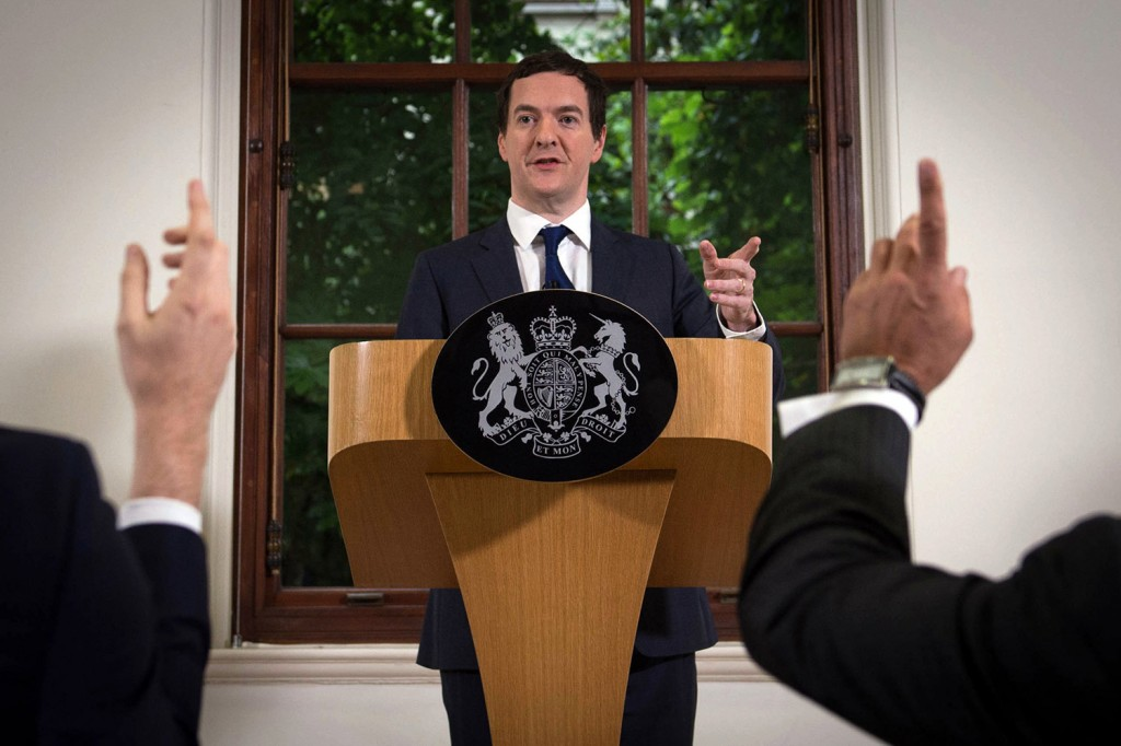 British Chancellor of the Exchequer George Osborne speaks during a news conference at The Treasury in London Monday. In his first public appearance since the vote to leave the European Union Thursday, Osborne tried to reassure markets shaken by the result.
