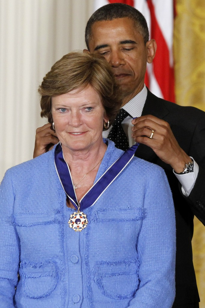 President Barack Obama awards the Medal of Freedom to former basketball coach Pat Summitt at the White House on May 29, 2012. The Medal of Freedom is the nation's highest civilian honor. Associated Press